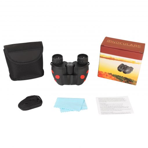 children's binoculars kit complete with cleaning rag and carrying bag.